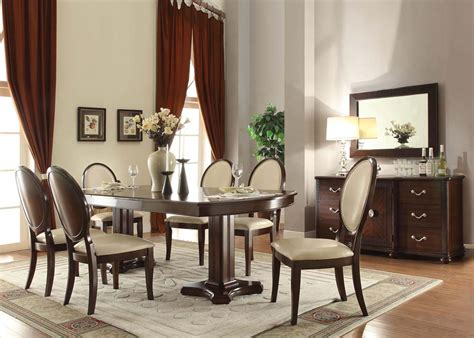 acme furniture balint  piece pedestal dining set  cherry  dining rooms outlet