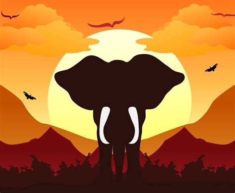 silhouette background elephant silhouette background sunset vector