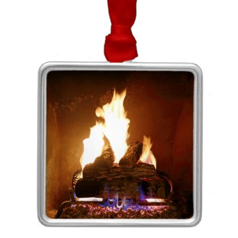 fireplace square metal christmas ornament zazzle