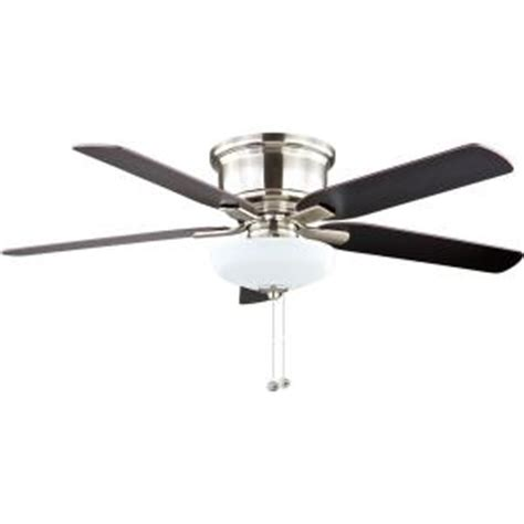Home Depot Low Profile Ceiling Fan by Hton Bay 52 In Springs Low Profile Led Brushed Nickel Ceiling Fan 57289 The Home Depot