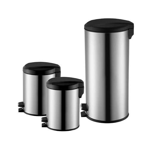 3 pack hdx stainless steel step on trash can for 19