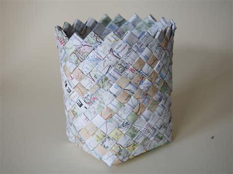 How To Make A Paper Basket Weave - woven map basket make