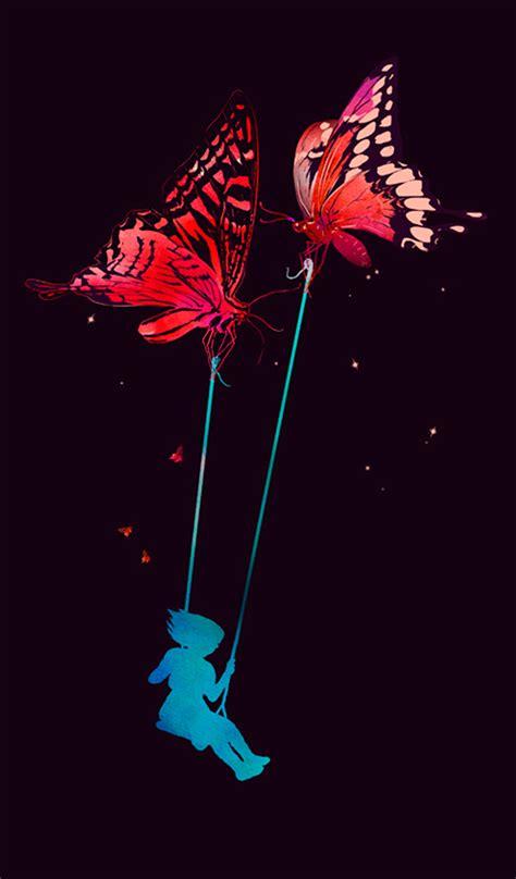 the swing art illustration art painting trees moon forest little girl