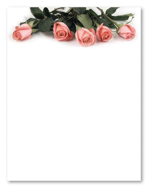 printable stationary with roses 5 best images of printable stationery paper roses free