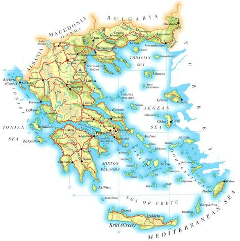 printable road map of greece large detailed physical map of greece with cities roads