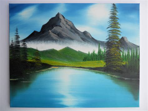 bob ross painting lake bob ross style painting landscape mountain ridge lake