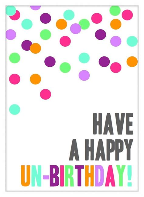 Printable Postcard Happy Un Birthday Just Because Card Vertical Unbirthday Card Template