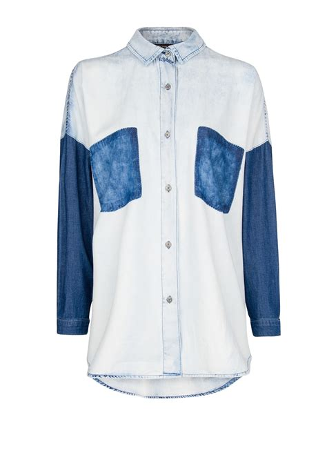 Jean Colors Tops And More Stuff by Mango Color Block Denim Shirt In Blue Lyst