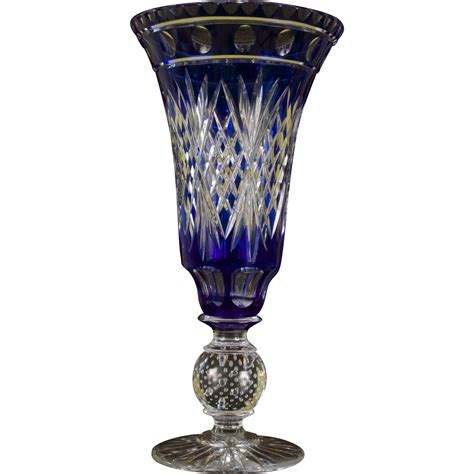 Vase Transparent by Pairpoint Cut To Clear Cobalt Vase From Gildedagedining On
