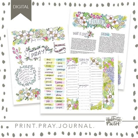 printable lent journal print pray journal 2017 lent journal kit illustrated faith