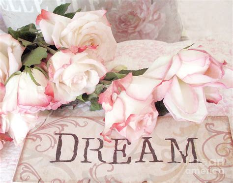 cottage shabby chic roses typography dream pink roses with dream words photograph by kathy fornal