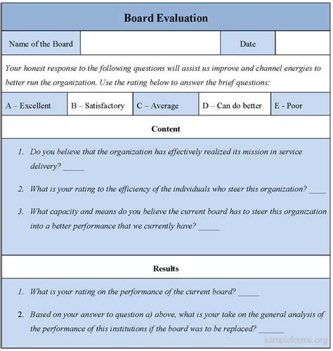 board evaluation form sample board evaluation form