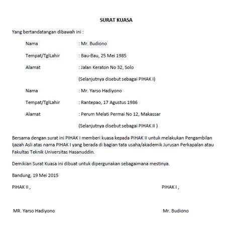 Contoh Surat Kuasa Pengambilan Dokumen by Surat Kuasa Lengkap Untuk Berbagai Keperluan Seruni Id