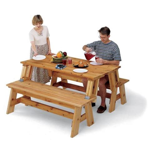 picnic table  bench combo plan rockler woodworking