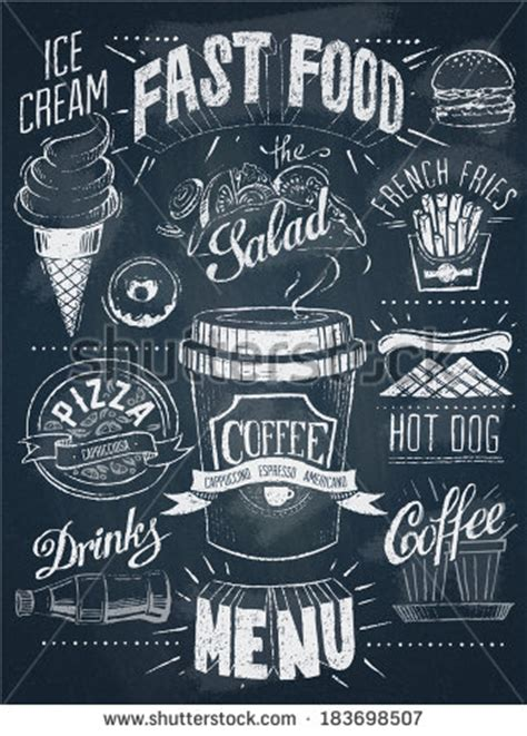 design font blackboard fast food chalkboard design set stock vector hand