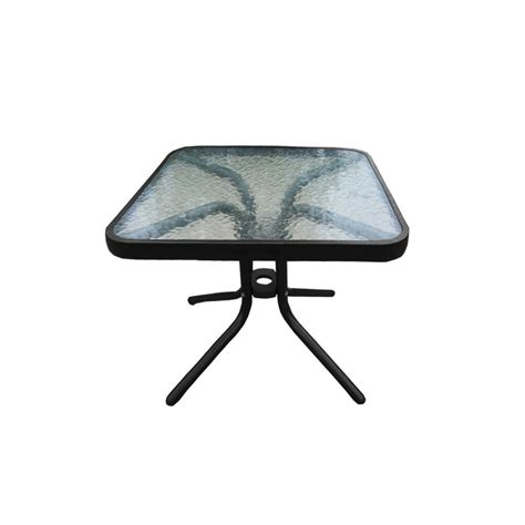 glass top outdoor side table oakland living 20 in tempered glass top black