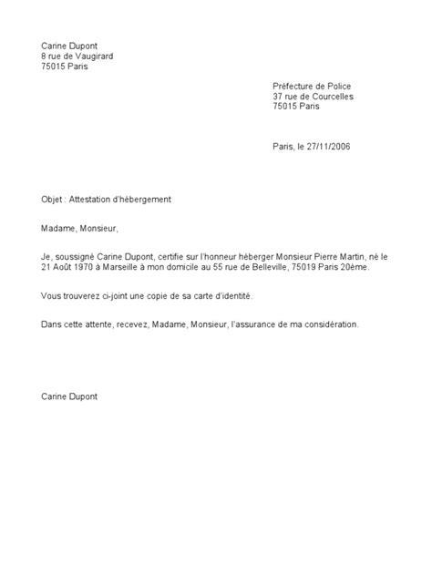 Exemple De Lettre Je Certifie Sur L Honneur Attestation Hebergement