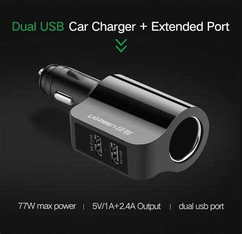 Car Charger 2 Usb Port Dengan 3 Socket Cigarette 1 ugreen car charger 2 usb port 3 4a dengan cigarette cd115 black jakartanotebook