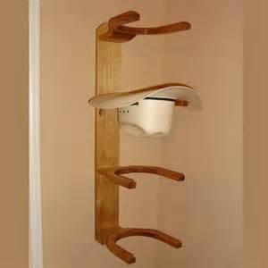 wooden cowboy western hat rack 4 hook horizontal wall mount