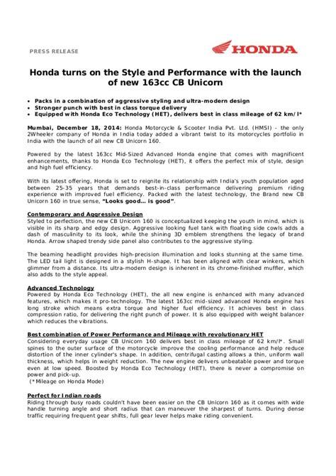 honda cb unicorn 160 launch press release