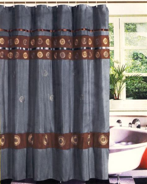 shower curtain blue brown new modern embroidery sunflower fabric shower curtain set