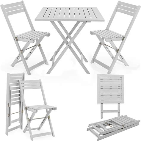 White Folding Table And Chairs Wooden Garden Dining Furniture Set Folding Table Chair Balcony Hardwood White Ebay