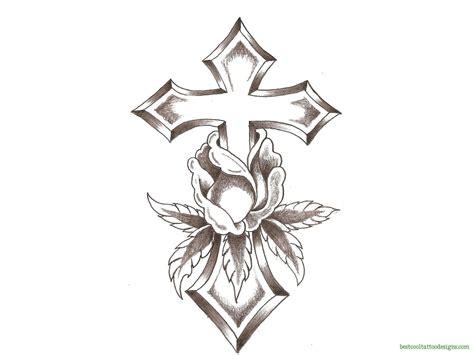 cross with flowers tattoo crosses archives best cool designs