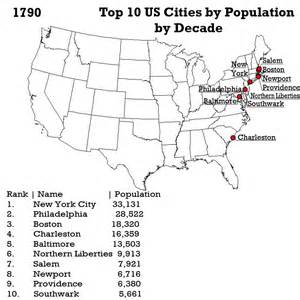 us map with top cities the san jose top 10 us cities by population by decade