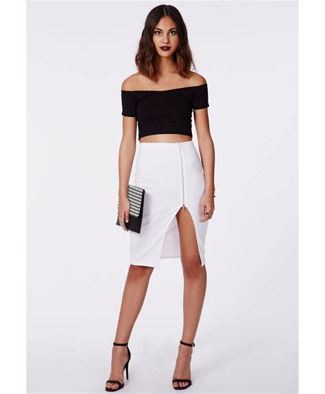 missguided alyx zip side split midi skirt white in white