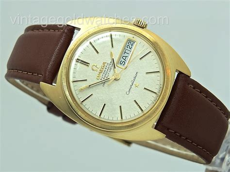 omega constellation 18k day date 1968 vintage gold watches