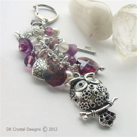 Handmade Bag Charms - large owl bead bag charm keyring folksy