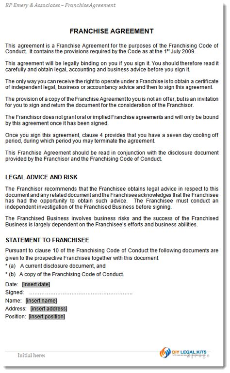 franchise agreement template franchise agreement template for australian franchises