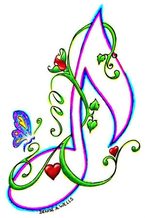 quot love note quot tattoo design by denise a wells music notes