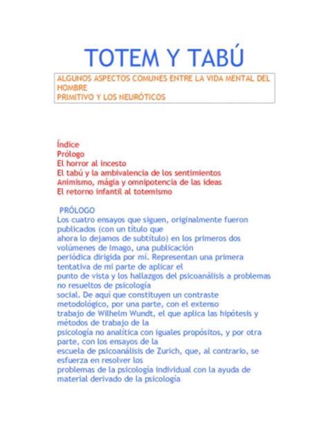 totem y tabu documento totem y tab 218 algunos aspectos comunes entre la vida mental del hombre primitivo y los
