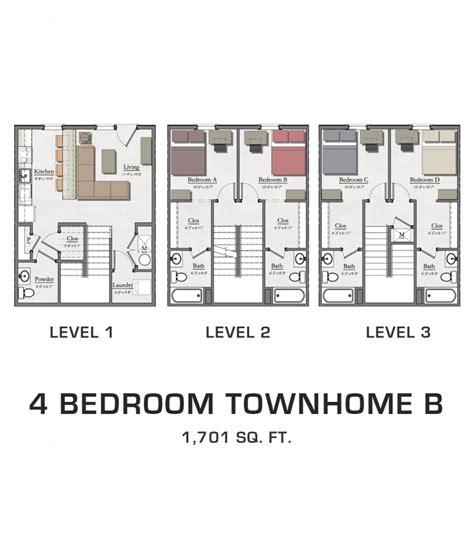 4 bedroom townhomes 4 bedroom townhome b hannah lofts and townhomes