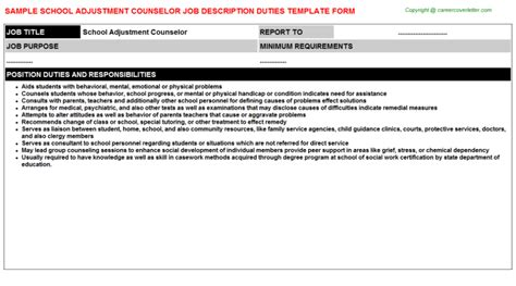 School Adjustment Counselor Cover Letter by School Adjustment Counselor Descriptions Sles