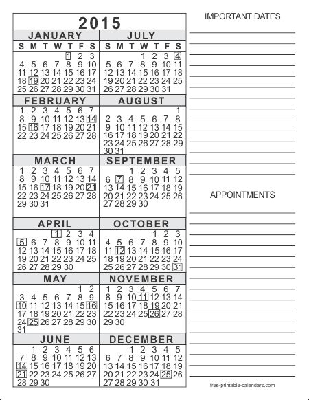 2015 printable yearly calendar templates 2015 free printable calendars free printable calendars