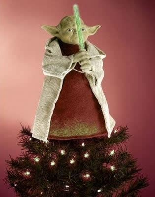 yoda christmas tree topper with led lightsaber