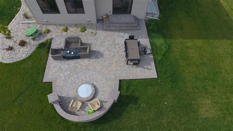 paver patio pit backyard pit with seat wall and paver patio oasis