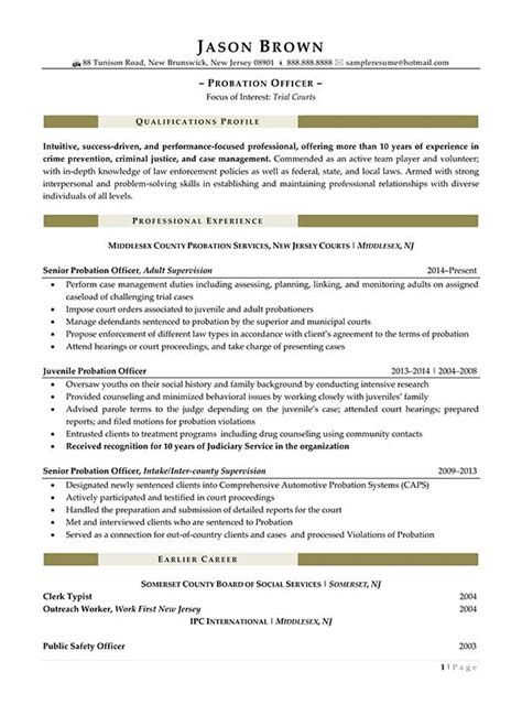 Probation Officer Resume by Security Resume Exles Resume Professional Writers
