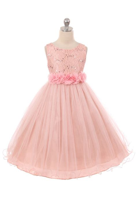 blush colored flower dresses blush sleeveless shiny tulle flower dress with