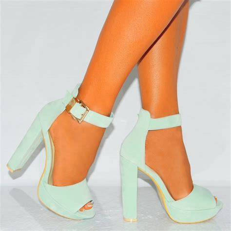 mint green high heels mint green faux suede ankle peep toe block