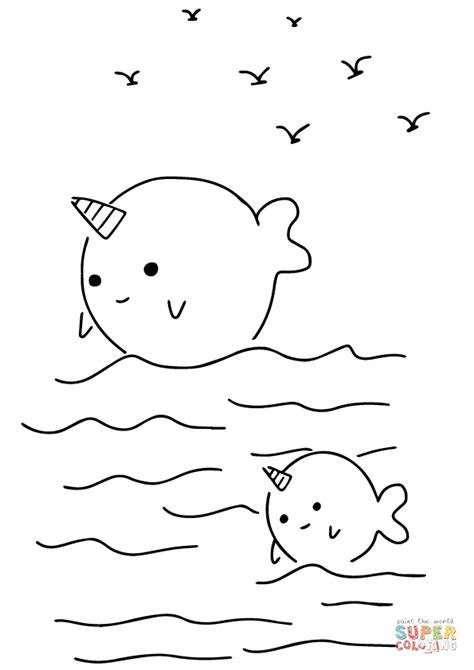 Cute Coloring Pages Of Narwhals | kawaii narwhals coloring page free printable coloring pages