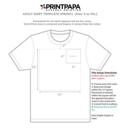 size t shirt template print locations t shirt design size template