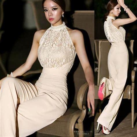 Jumpsuit Korea Chiffon Hitam Renda Import best 2015 lace jumpsuits for korea halter pearl collar strapless high waist stitching