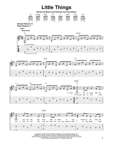 tutorial guitar little things little things sheet music by one direction easy guitar
