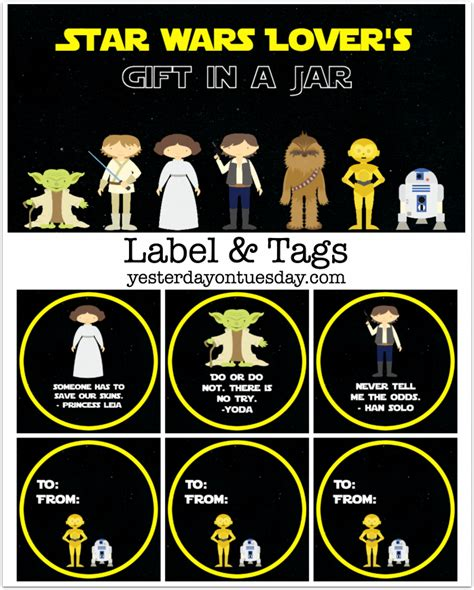 star wars printable luggage tags star wars lover s gift in a jar yesterday on tuesday