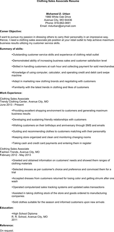 sales associate resume templates for free formtemplate