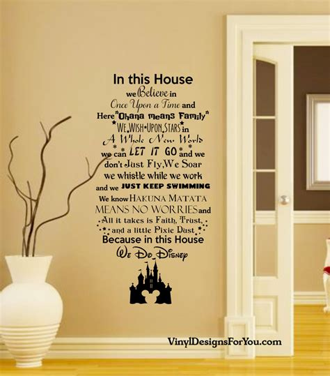 disney wall stickers disney wall decal in this house we do disney wall decal with by vinyldesignsforyou with in