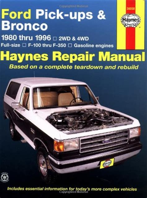 old car owners manuals 1996 ford f series windshield wipe control ford pick ups bronco 1980 thru 1996 2wd 4wd full size f 100 thru f 350 gasoline engines